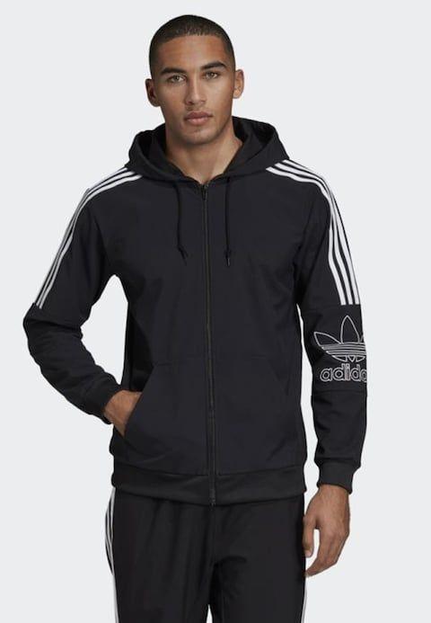 OUTLINE HOODIE Zip up hoodie black @ Zalando.co.uk in