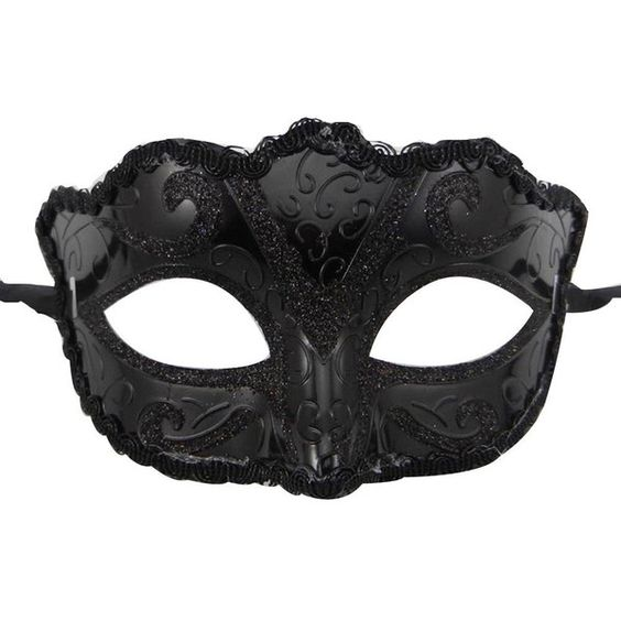 Amazon.com: Surker Lace The Sides Cool Black Painted Masquerade Mask... (545 RSD) ❤ liked on Polyvore featuring mask