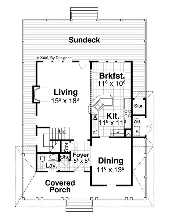 Move kitchen where b'fast is make U design with island looking into living. Create butlers pantry with dinette between kitchen and dining and this is a great plan.