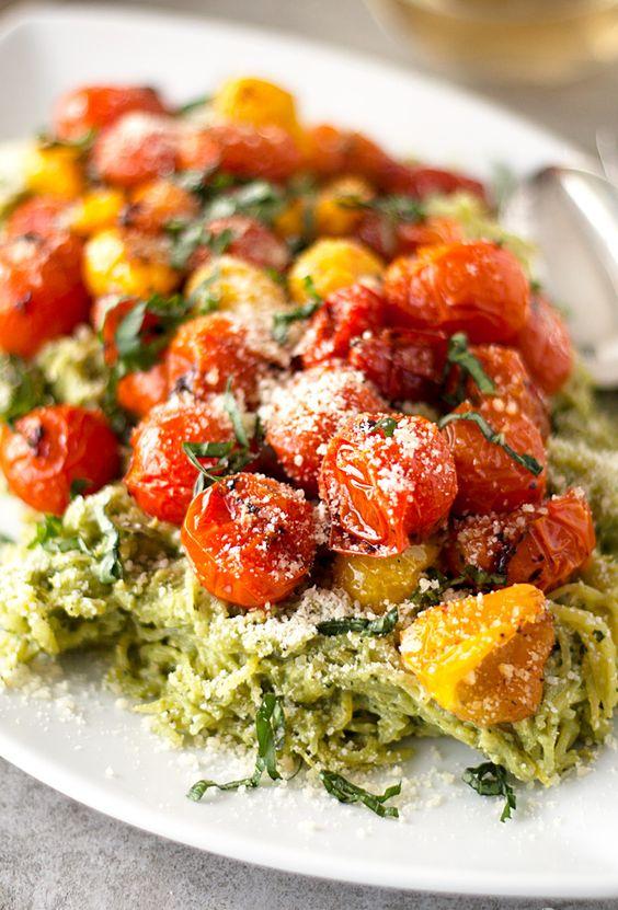 Pesto spaghetti squash, Roasted tomatoes and Spaghetti squash on ...