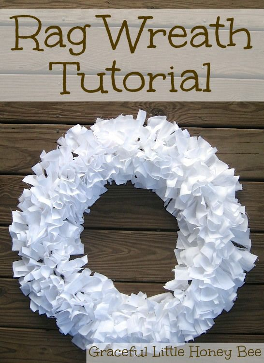 Learn how to make this easy rag wreath using strips of fabric.: