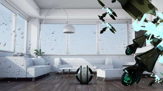 "As part of Electrolux Design Lab's competition, designer Adrian Perez Zapata developed ""Mab,"" a system of flying robots that can clean your house. #designlab2013"