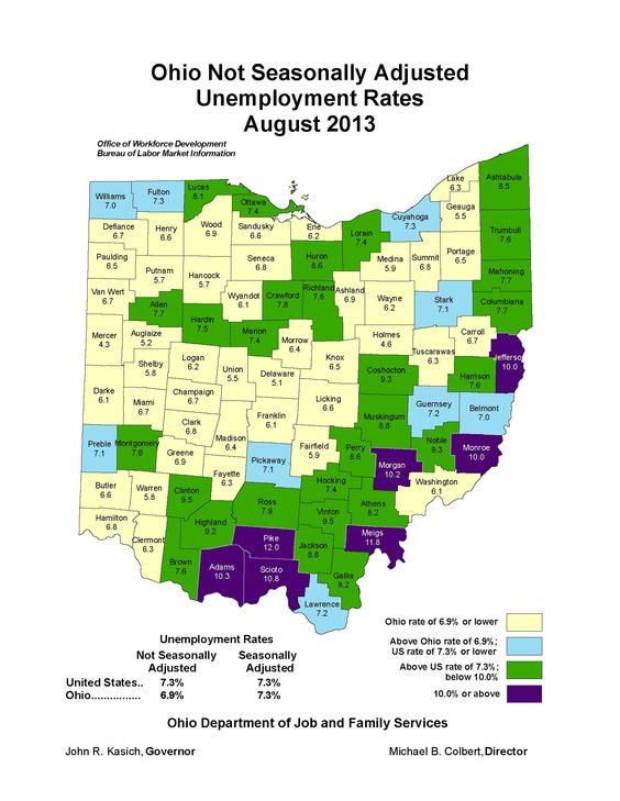 Local #unemployment rates August 2013 in #Ohio