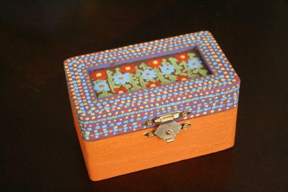 HandPainted Wooden Box  Flowers by littlesisbricabrac on Etsy, $15.00