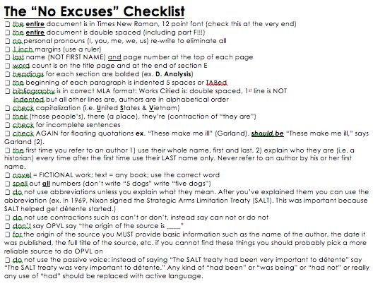 writing your college essay checklist 2006-12-13 academic writing checklist this is a checklist to help you organise and edit your essays and written work before you start writing your paper you will probably have discussed the title of your essay with your tutor.