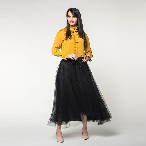Nichii Saudi Arabia On Instagram اللون الخردلي لون الموضة في نتشي بلوزة 129 ريال تنورة 179 ريال Ch004 Fashion Tulle Skirt Tulle