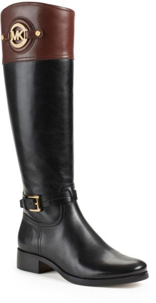 Michael Kors Michael Stockard Twotone Leather Riding Boot in Black (BLACK/MOCHA) - Lyst