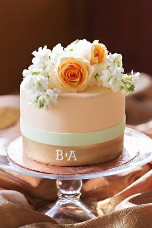 small wedding cake with couples initials myweddingdotcom