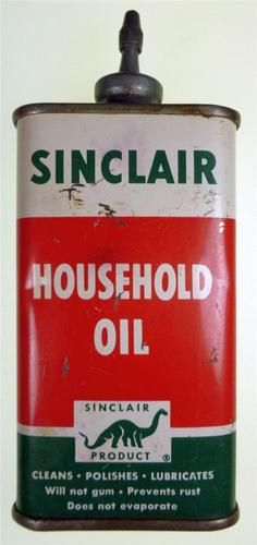 Vintage Sinclair Household Oil Can Metal Spout Top 4 oz. Tin