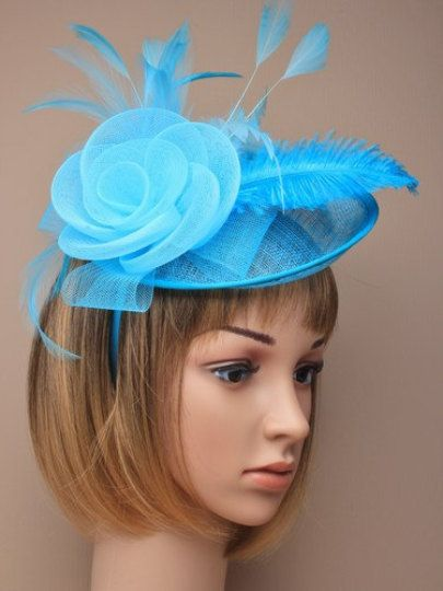Turquoise large net and hessian Hat Hatinator on a narrow alice band with a Rose and Feathers. Wedding, Ascot, Christening, Church, Baptism