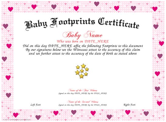A cute birth certificate bordered in blue with a fullcolor – Baby Dedication Certificates Templates