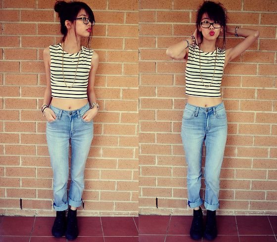 Supre Striped Cropped Top, Neuw High Waisted Boyfriend Jeans ...