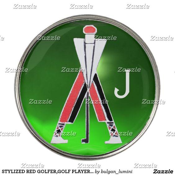 STYLIZED RED GOLFER,GOLF PLAYER GREEN GEM MONOGRAM GOLF BALL MARKER #golf #golfplayer #golfer #sport #sports #golfers