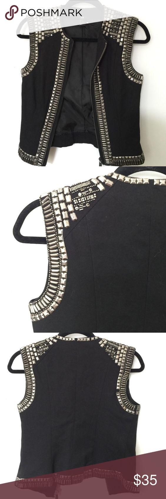 H&M Embellished Zip Up Vest Jacket Rare H&M Embellished Zip Up Vest Jacket. Size 4. Amazing statement piece! Lightly worn. H&M Jackets & Coats Vests