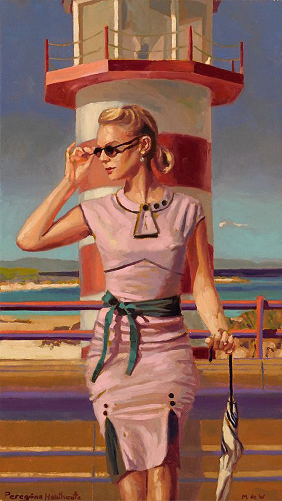 """At The Lighthouse"" - Peregrine Heathcote, oil on canvas {figurative symbolism art female sunglasses sitting woman painting} peregrineheathcote.com"