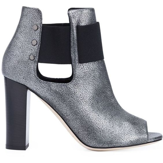 Jimmy Choo 'Mase 95' ankle boots (€1.050) ❤ liked on Polyvore featuring shoes, boots, ankle booties, grey, open toe ankle boots, gray boots, open toe bootie, ankle boots and leather booties