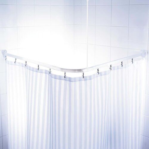 Kershaw 160cm Adjustable L Shaped Fixed Shower Curtain Rail Ring Set Symple Stuff In 2020 Curtain Rails Curtains L Shape