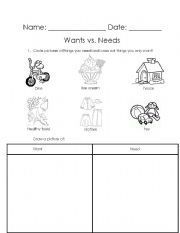 Needs And Wants Sort Worksheet | English worksheets: Wants Vs ...