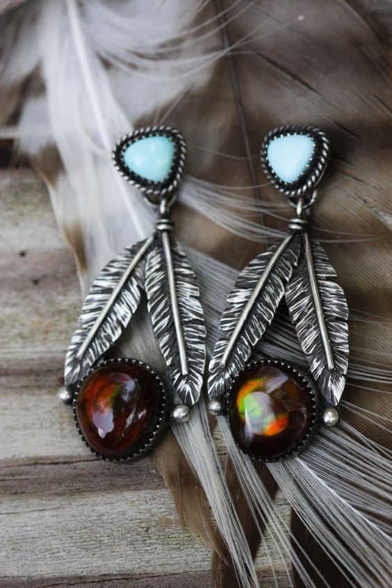 Fire Agate and Turquoise Earrings. Sterling by AppaloosaDesigns