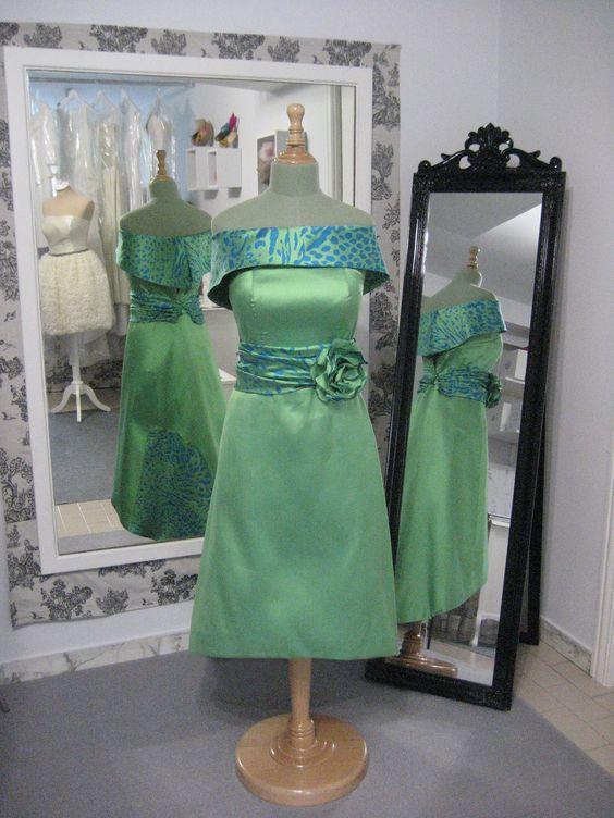 Vestido de fiesta combinado en seda salvaje