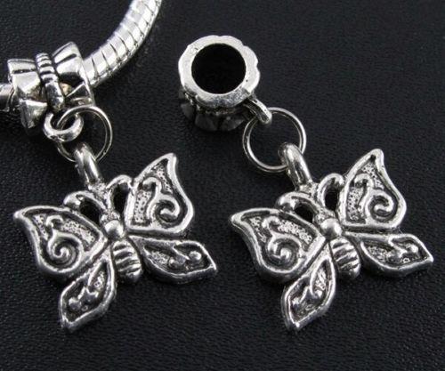 Antiquel Silver Butterfly Spacer /Dangle Charms Bead European Charm Bracelets | eBay