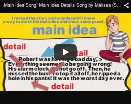 Main Idea Song by Melissa... This song can be use to show how to find text evidence of supporting details to identify the main idea in simple text. The examples carry over to cultivate the understanding of young minds in such a way that they can transfer the information learned in this video to actual literary text or verbal classroom conversation. I've used this video as both a supplement to a basal text and as a stand-alone version. grammarsongs.com/