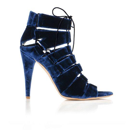 loeffler randall blue velvet sandals = want!