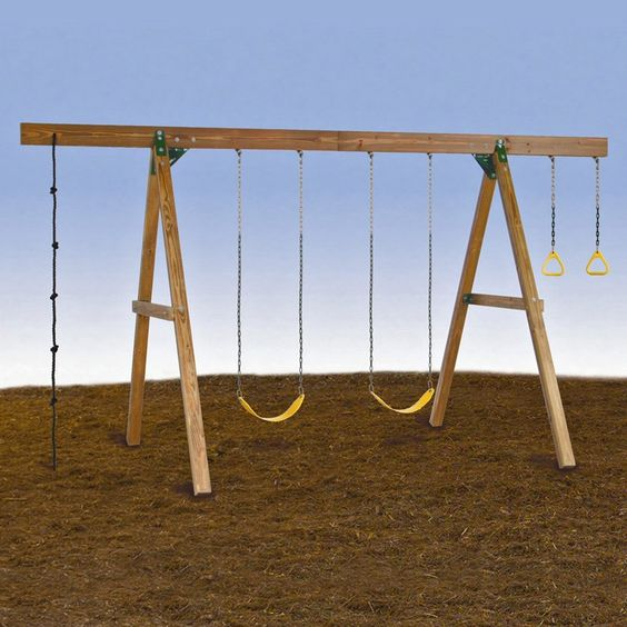 PlayStar Playsets 4-Station A-Frame Wood Swing Set