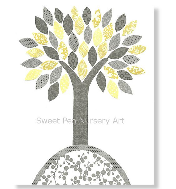 Nursery Tree Print Gray and yellow nursery by SweetPeaNurseryArt, $15.00