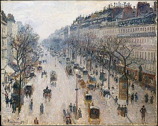 The Boulevard Montmartre on a Winter Morning                                          Camille Pissarro 1897