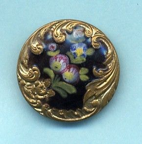 Parisian Brass  Enamel Floral Design Button