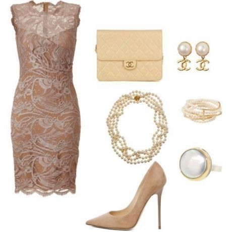 Nude elegant lace dress ...beautiful outfit. I would never be able to walk in such a high heel, so I would have to change those.