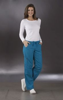 "Peaches Uniforms Happy Hour Pant 7469 HAPPY HOUR PANT (7469)  Regular: XS - 3X (31"" inseam)  Petite: XS - XL (29"" inseam)  65% Poly/35% Cotton Enzyme Washed for a ""Peachy"" Finish               Versatile straight cut pant that is adjustable at the hem (perfect for petitie sizes) and can be rolled into capris for those after hour events!     • Straight leg pant adjustable at hem to capris  • Drawstring waist  • Side cargo pocket  • Knee seams and darts  Peaches Uniforms Happy Hour Pant 7469  5…"