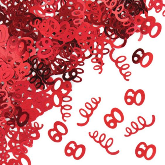 60 Confetti (includes half an ounce foil confetti, featuring the number 60 cutouts, in a pack)