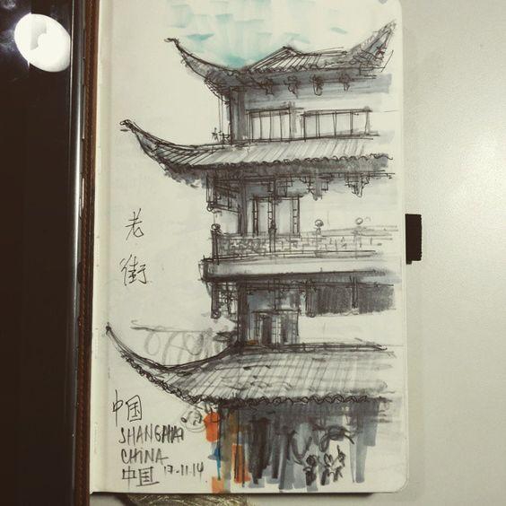 Outro lado de laojie agora com grafite e marcadores.  China é sensacional para fazer uns Sketchs. #shanghai #marker #sketchbook  #中国上海  #draw #urbanskecth