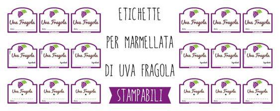 etichette marmellata da stampare uva fragola