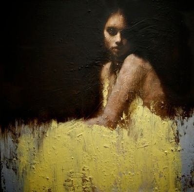 The Girl in the Yellow Dress. From: For the Love of Design: Kelley Moore: Waters Mark, Shallow Waters, Oil On Canvas, Demsteader Painting, Waters Oil, Yellow Dress, Mark Demsteader, Art Painting, Demsteader Shallow