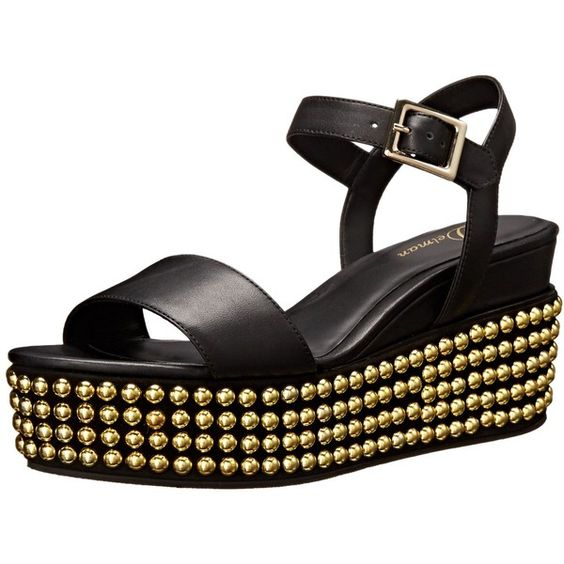 Delman Women's D-Angie-B Studded Wedge Sandal ($204) ❤ liked on Polyvore featuring shoes, sandals, buckle platform sandals, wedge heel sandals, platform wedge shoes, buckle sandals and ankle tie sandals