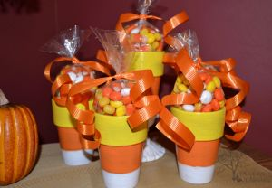 DIY~ Candy Corn Clay Pots~ Great for treats and to decorate with.