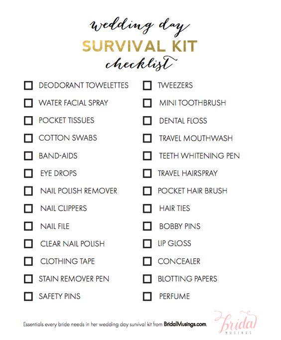 Free Printable Wedding Emergency Kit List   Free printable wedding ...