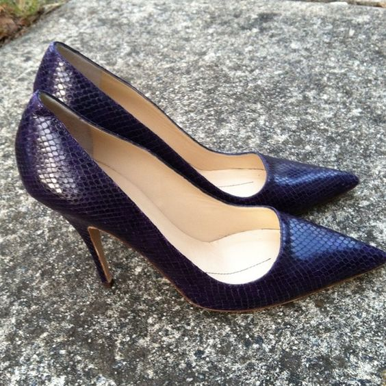 I just discovered this while shopping on Poshmark: Kate Spade Purple Snakeskin Pumps. Check it out! Price: $60 Size: 10, listed by cmarshall38