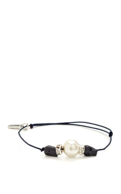 Shop Skull-Rhinestone-Glass Bead String Bracelet by Vanities Now Available on Moda Operandi