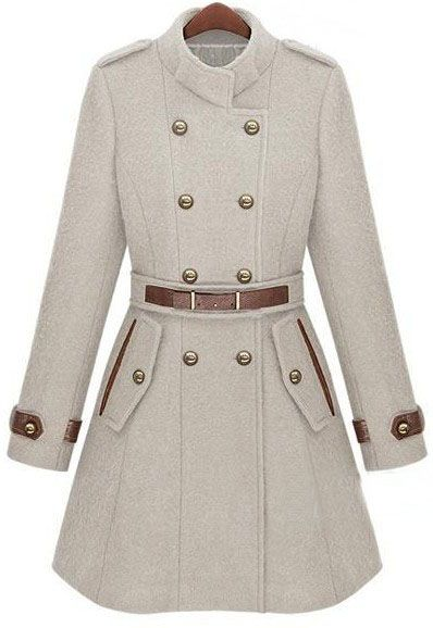 Beige Double Breasted Banded Collar Coat $95.60