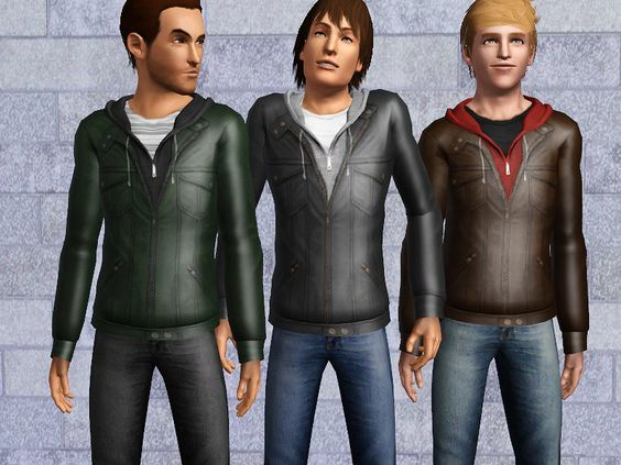 Mod The Sims - Leather Jacket and Hoodie for Males