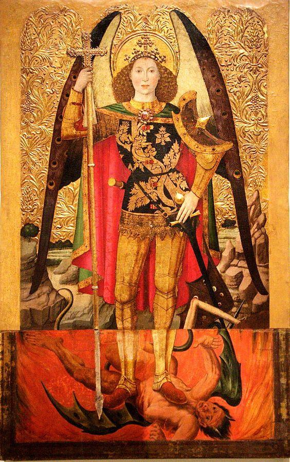 San Michele ( 1455-1460 ), Jaume Huguet, Museo Nazionale di Arte della Catalogna.