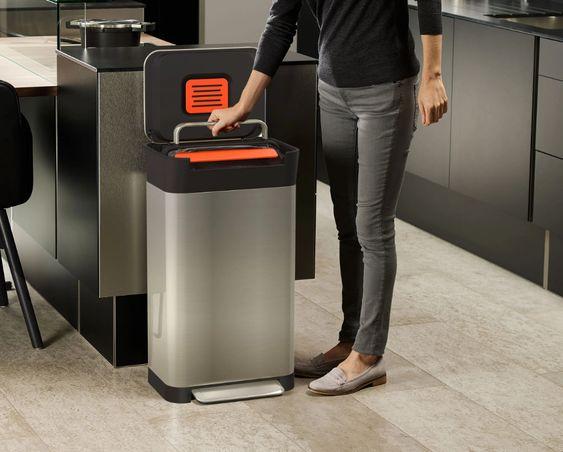 ゴミ箱 キッチン 圧縮 チタン ステンレス ペダル 脱臭 グッドデザイン賞