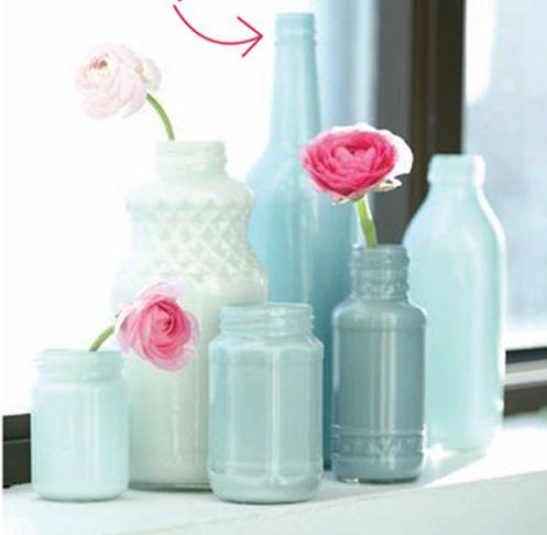 DIY painted glass bottles/jars for vases