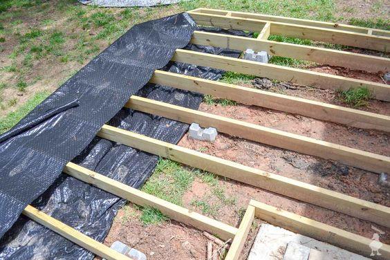 Diy Floating Deck Part 2 Frame Waterproofing Floating Deck Building A Floating Deck Ground Level Deck