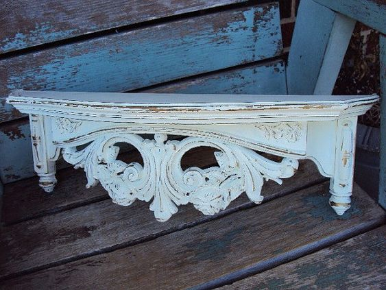 BED CROWN! Next DIY project. Vintage Shabby Chic Shelf Bed Crown Hollywood Regency Style Distressed chippy antique off white on Etsy, $36.50