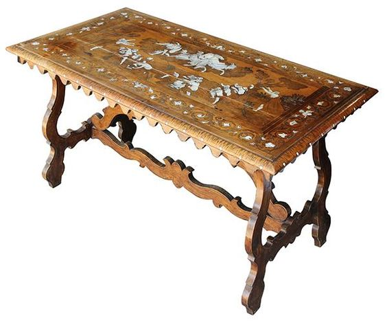 North Italian Baroque inlaid walnut center table, Lombardy early 18th century, having a rectangular top with pen-engraved inlay, t... - Price Estimate: $6000 - $9000